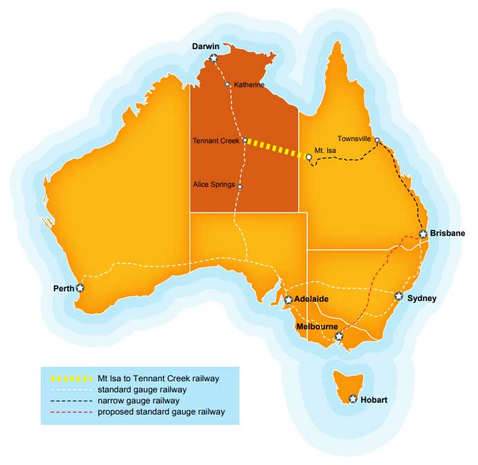 Map of Australia highlight the Northern Territory and proposed railway line from Mt Isa to Tennant Creek.